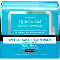 Neutrogena HydroBoost Facial Cleansing & Makeup Remover Wipes with Hyaluronic Acid, Hydrating Pre-Moistened Face…