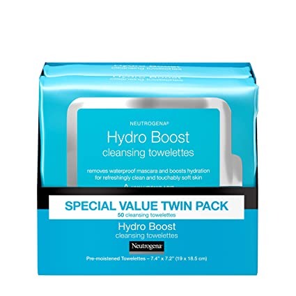 Neutrogena Twin-pack of 25-count Neutrogena Hydro Boost Facial Cleansing Wipes (50 count in total)