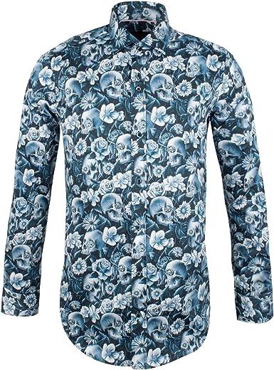 Guide London Hombres Camisa de Flor de Calavera Delgada Blue ...