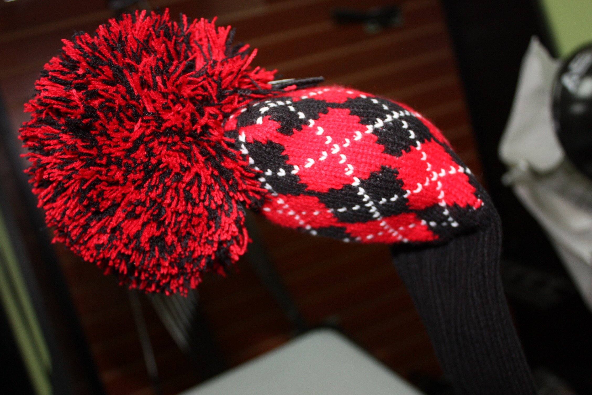 Majek #3, 4, 5, & 6 Hybrid Combo Pack Rescue Utility Argyle Red & Black Golf Headcover Knit Pom Pom Retro Classic Vintage Head Cover