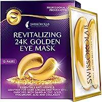 Eye Pads 24k Gold Eye Mask Anti-Aging Hyaluronic Acid Eye Patches Under Eye Mask for Moisturizing & Reducing Dark…