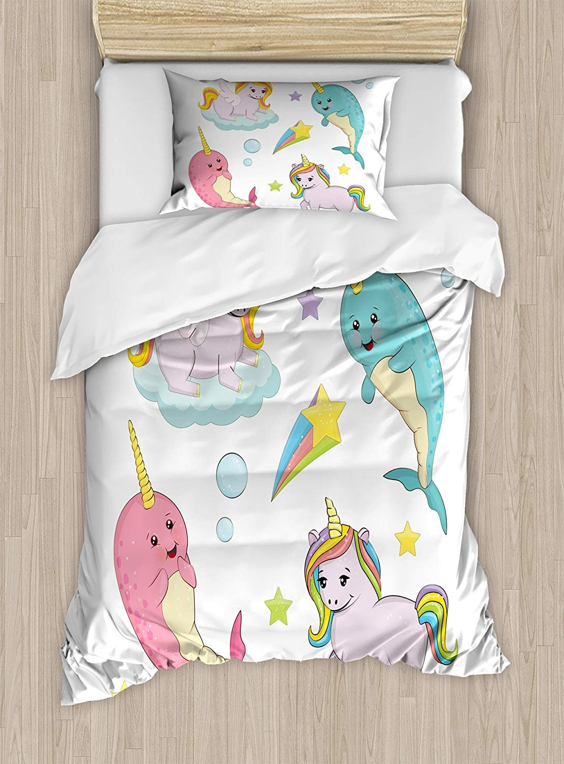 Narwhal Duvet Cover Set,Rainbow Colored Unicorns of the Land and Ocean Girly Illustration Colorful Cartoon,Cosy House Collection 4 Piece Bedding Sets