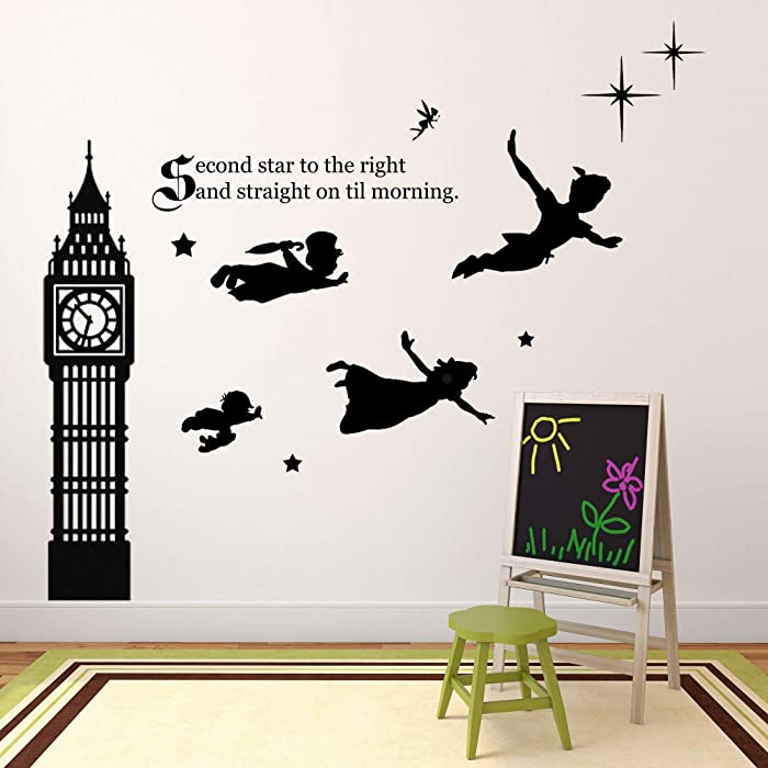 Kids Room Decor | Peter Pan Scene Silhouettes | Themed Vinyl Stickers for Kids Playroom, Boy or Girl Bedroom | Second Star to Right and Big Ben Clock | Various Color Options