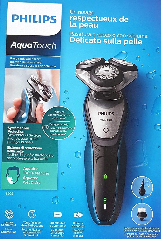 Afeitadora Philips AquaTouch eléctrico 100% impermeable – s5091 ...