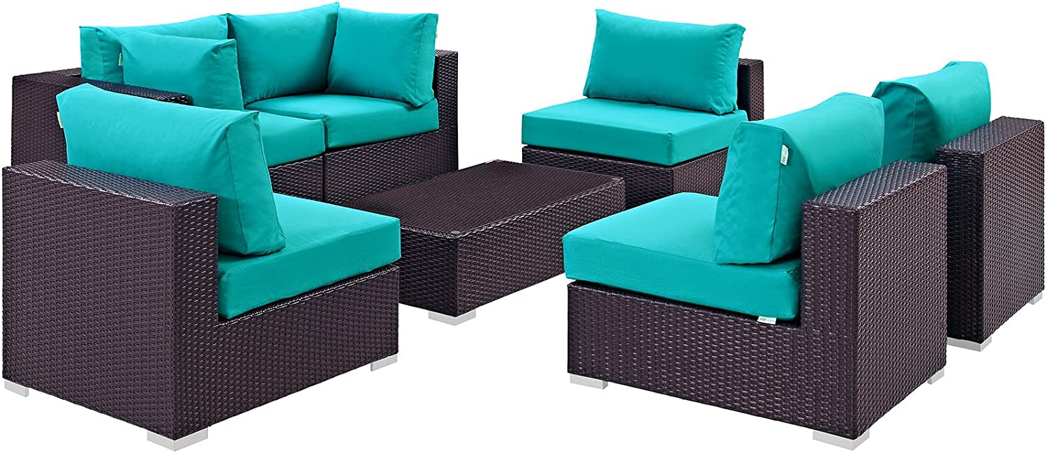 Modway Convene 7-Piece Outdoor Patio Sectional Set in Espresso Turquoise