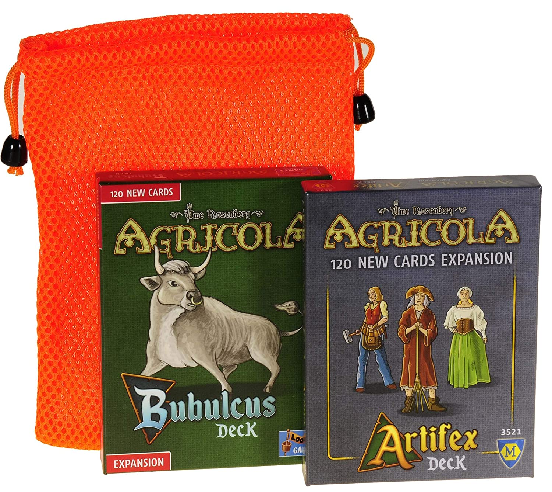 Bubulcus & Artifex 拡張デッキ Agricolaゲーム用 || オレンジメッシュ巾着収納ポーチ付き | バンドルアイテム B07PH7HJWX