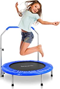 "SereneLife Portable & Foldable Trampoline - 36"" In-Home Mini Rebounder, Fitness Body Exercise - Updated Version - SLSPT365,Blue"