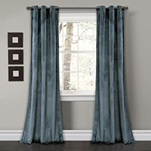 "Lush Decor Prima Velvet Curtains Color Block Room Darkening Window Panel Set for Living, Dining, Bedroom (Pair), 84"" L, Blue"
