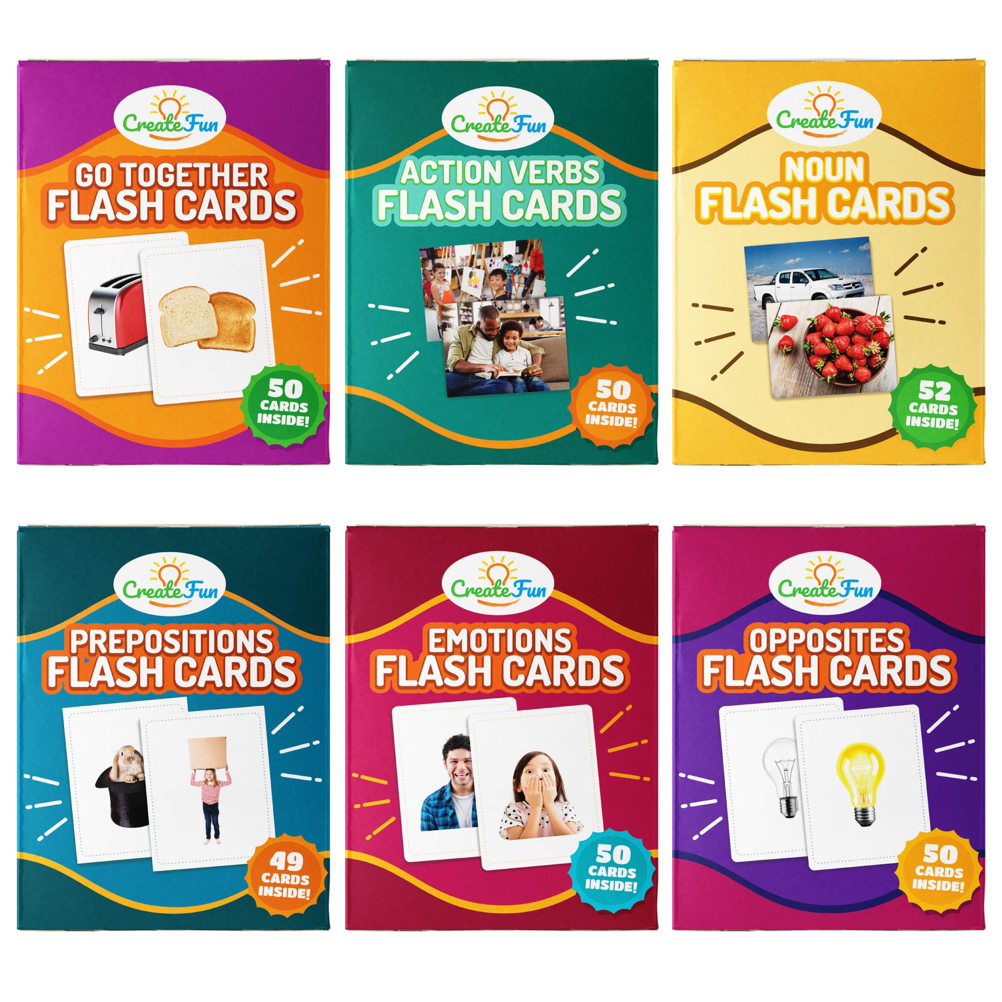 CreateFun Vocabulary Builder Flash Cards 6 Pack | 299 Educational Photo Cards with Learning Games | Includes Emotions, Go Togethers, Nouns, Opposites, Prepositions, Verbs | for Home and Speech Therapy by CreateFun