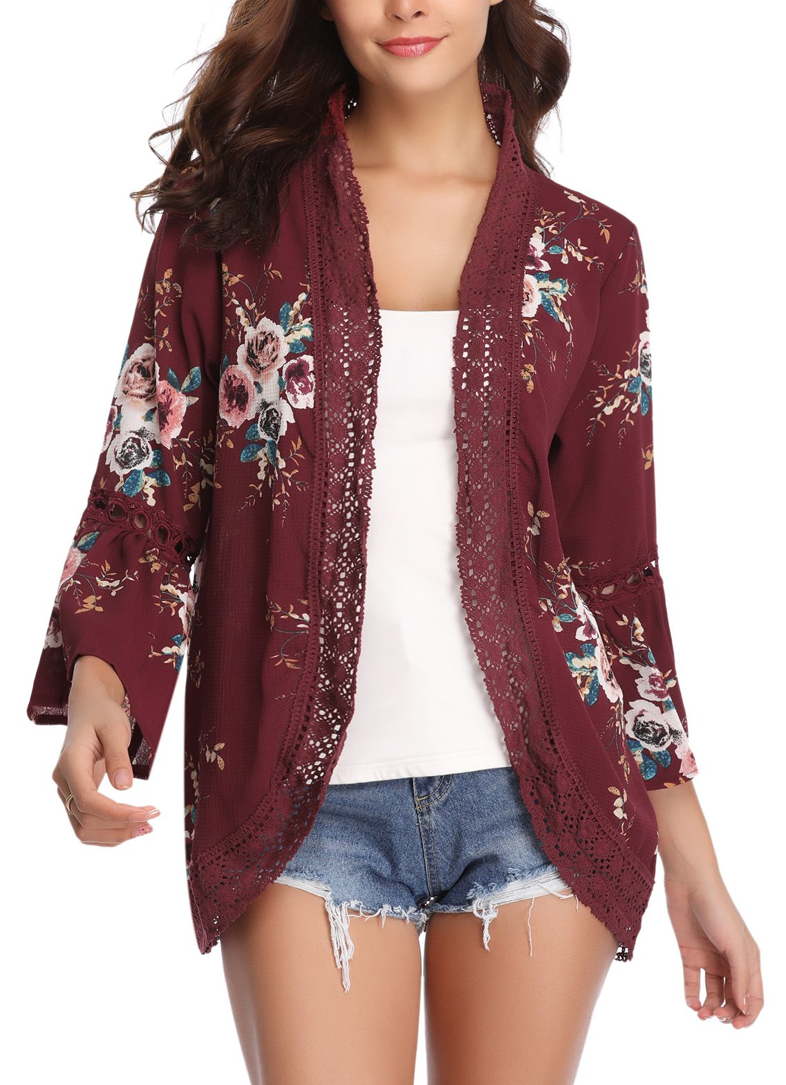 iClosam Women 3/4 Sleeve Floral Chiffon Kimono Cover Up Cardigan