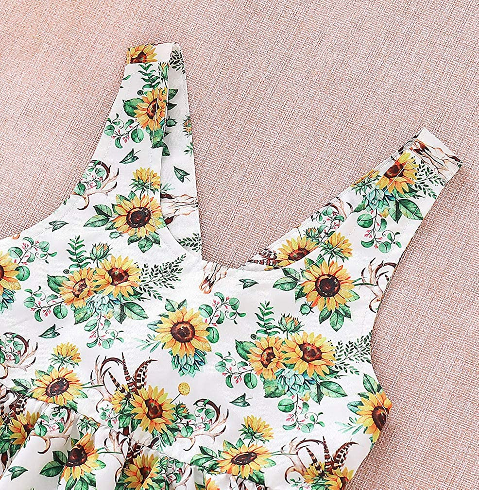 Karuedoo Toddler Baby Girl Sunflower Sleeveless Backless Princess Party Dress Casual Print Dress Sundess