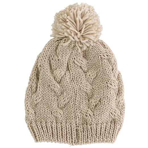 f0e3c975594 Amazon.com  CTM Girls  Cable Knit Winter Hat with Pom