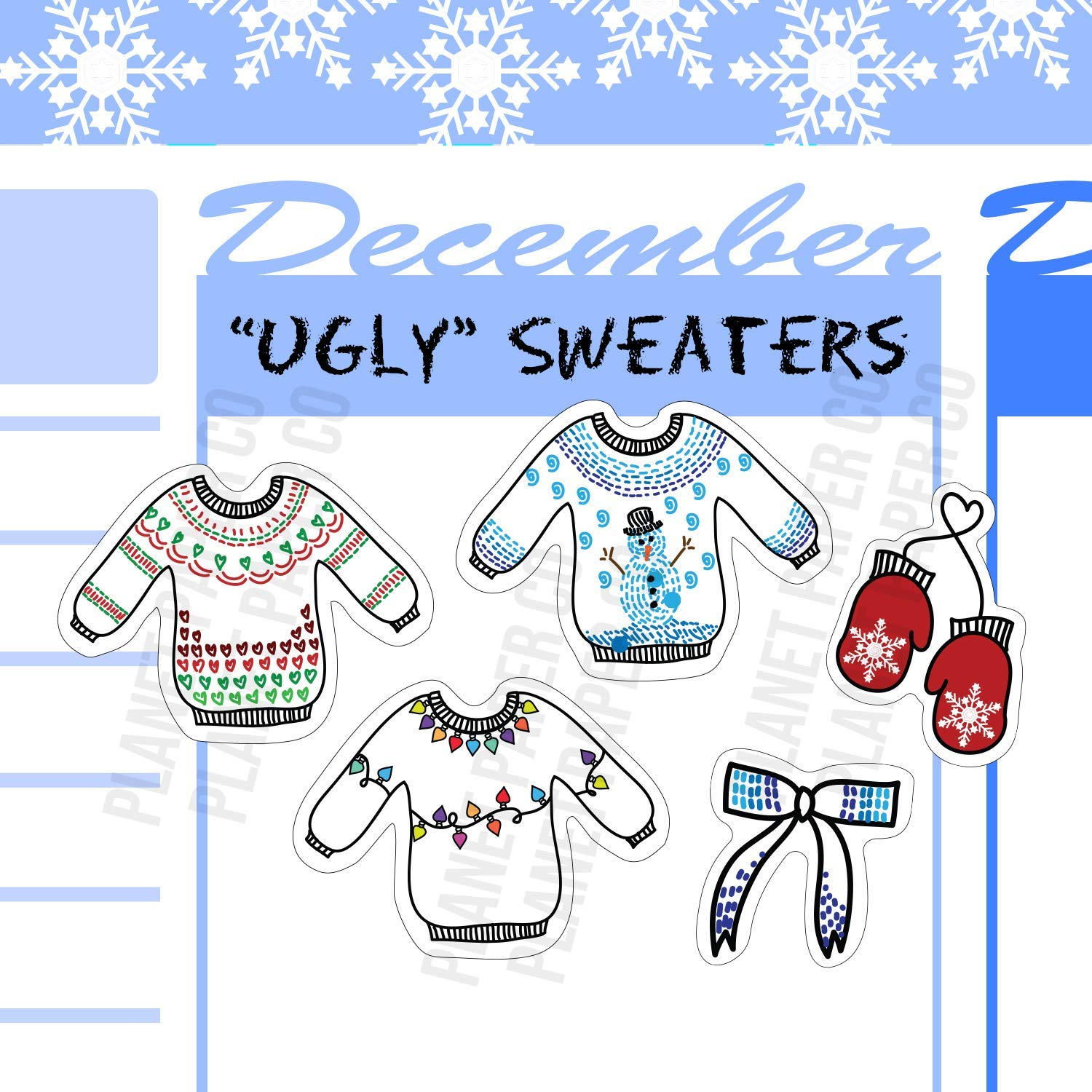Holiday Sweaters Planner Girl Stickers Christmas Lights Snowman Mittens Bows Ugly Sweaters 25 Chrismtas Holiday