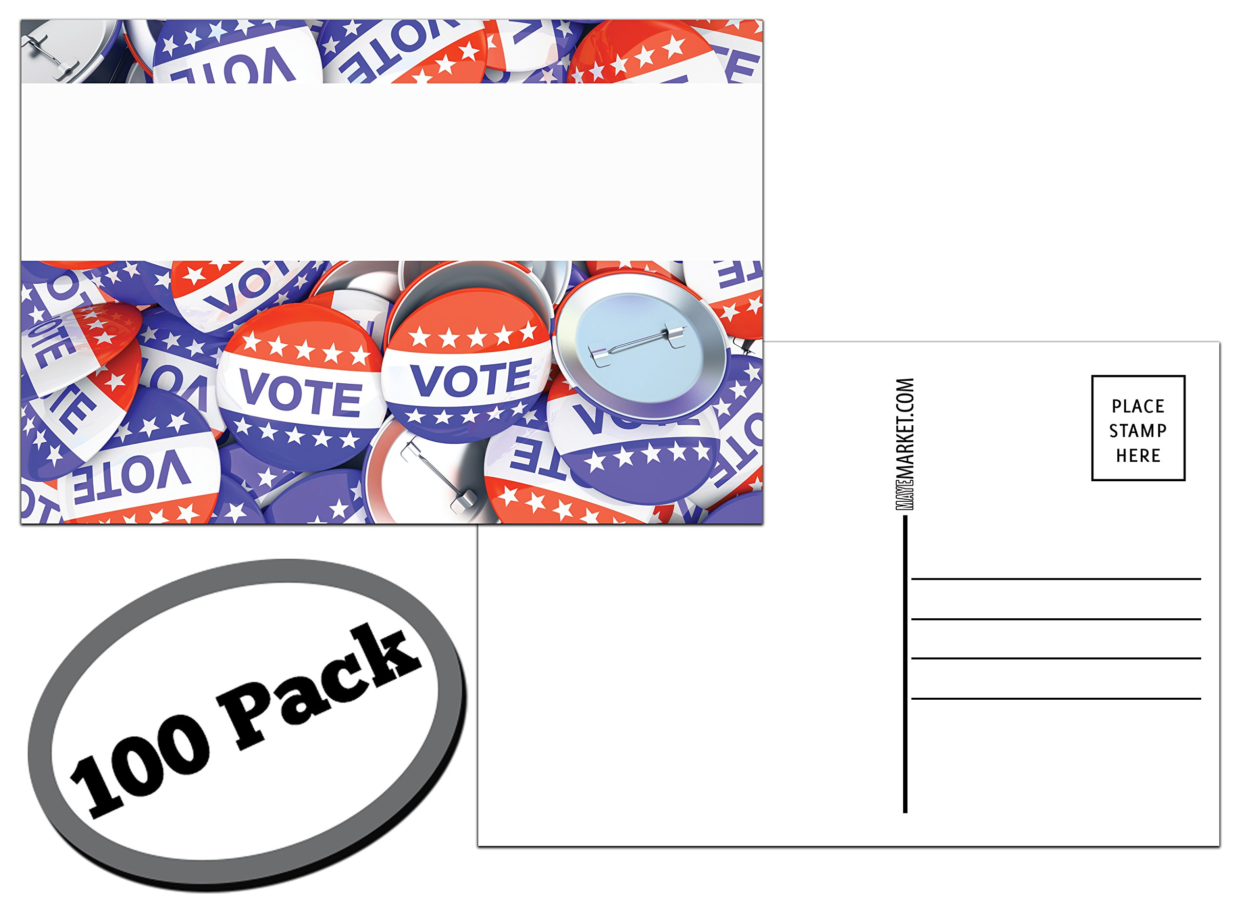 100 Pack of Blank Postcards. Each Post Card in This Patriotic, Bulk Set is 4 x 6, USPS Compliant (mailable), and USA Made. Mail to Voters to get Votes. Flip Side is Plain White and unused. (Buttons) by Maye Market