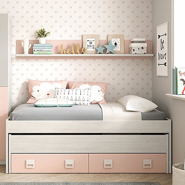 Habitdesign Cama Nido + 2 cajones y Estante, Cama Juvenil, Modelo Nube, Acabado en Color Blanco Alpes y Rosa Pastel, Medidas: 199 cm (Ancho) x 96 cm ...