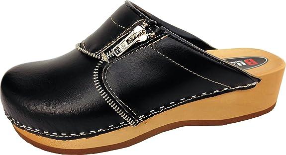 Schweden HOLZ CLOGS - Pantolette Gr.35 36 37 38 39 40 41 Dunkel BLAU Echt Leder- (Made in Poland 20.5.12.13)