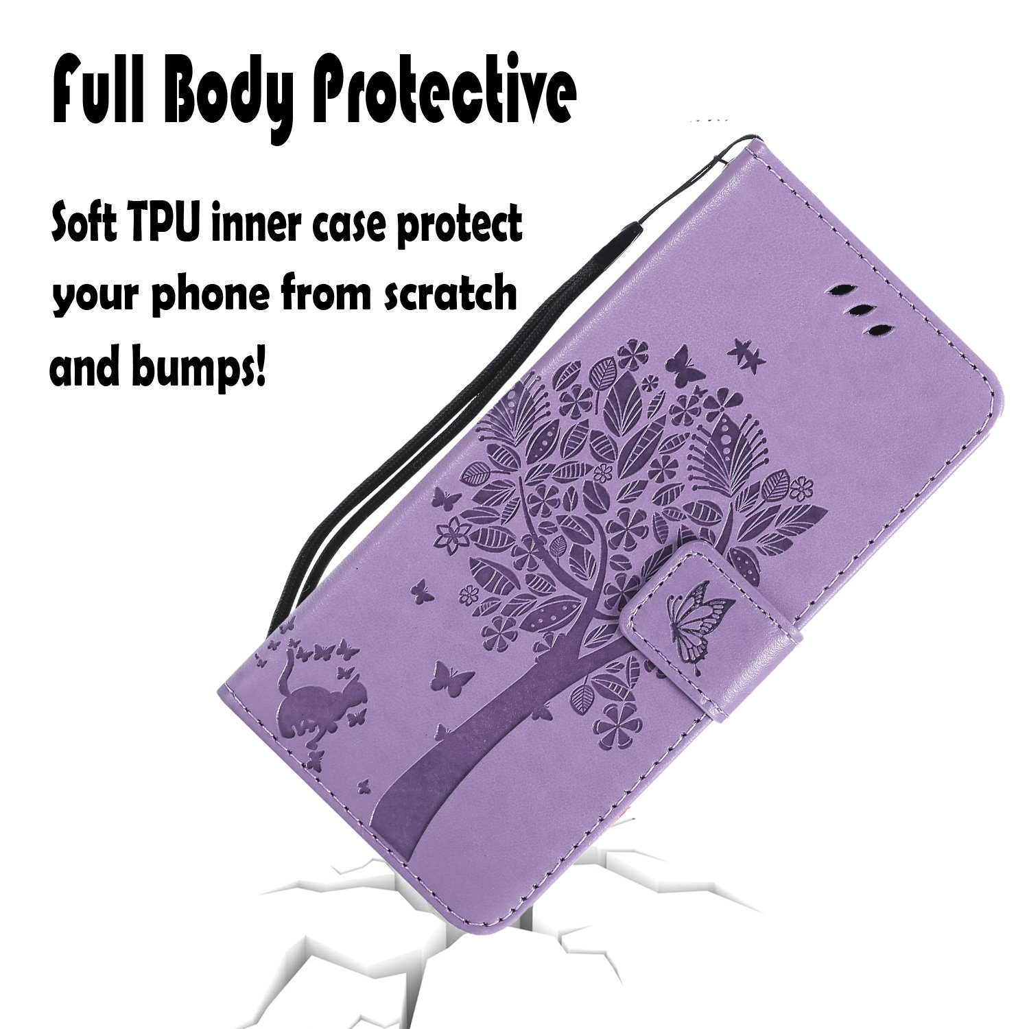 LG Aristo Case, LG Phoenix 3 Wallet Case,LG Fortune/K8 2017/LG Risio 2/LG Rebel 2 LTE Flip Case PU Leather Emboss Tree Cat Flower Folio Magnetic Kickstand Cover with Card Slots for LG LV3 Light Purple by NOMO (Image #3)
