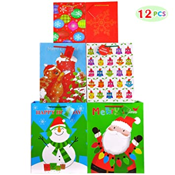 Christmas Bags In Bulk.Fzopo Christmas Gift Bags Bulk Set Includes 4 Extra Large 4 Large 4 Medium With Tags And Handles Christmas Print Gift Bags Assorted Sizes For Wrapping
