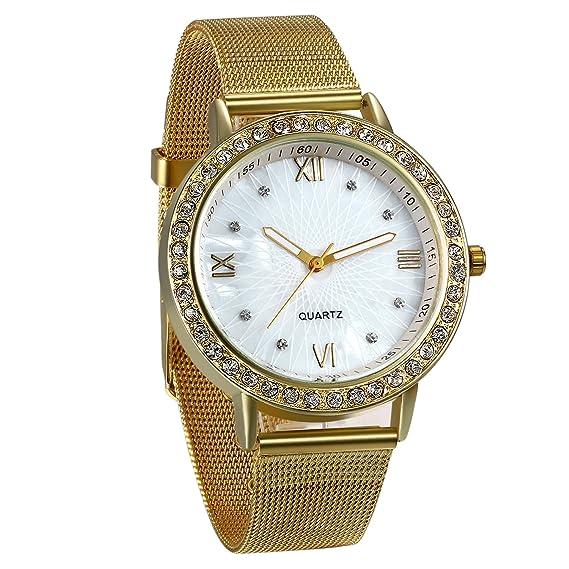 JewelryWe Reloj de Hombre Caballero Clasico Reloj de Acero Inoxidable Correa Milanesa Fina, Oro Dorado Reloj para Hombre, Buen Regalo Día del Padre: ...