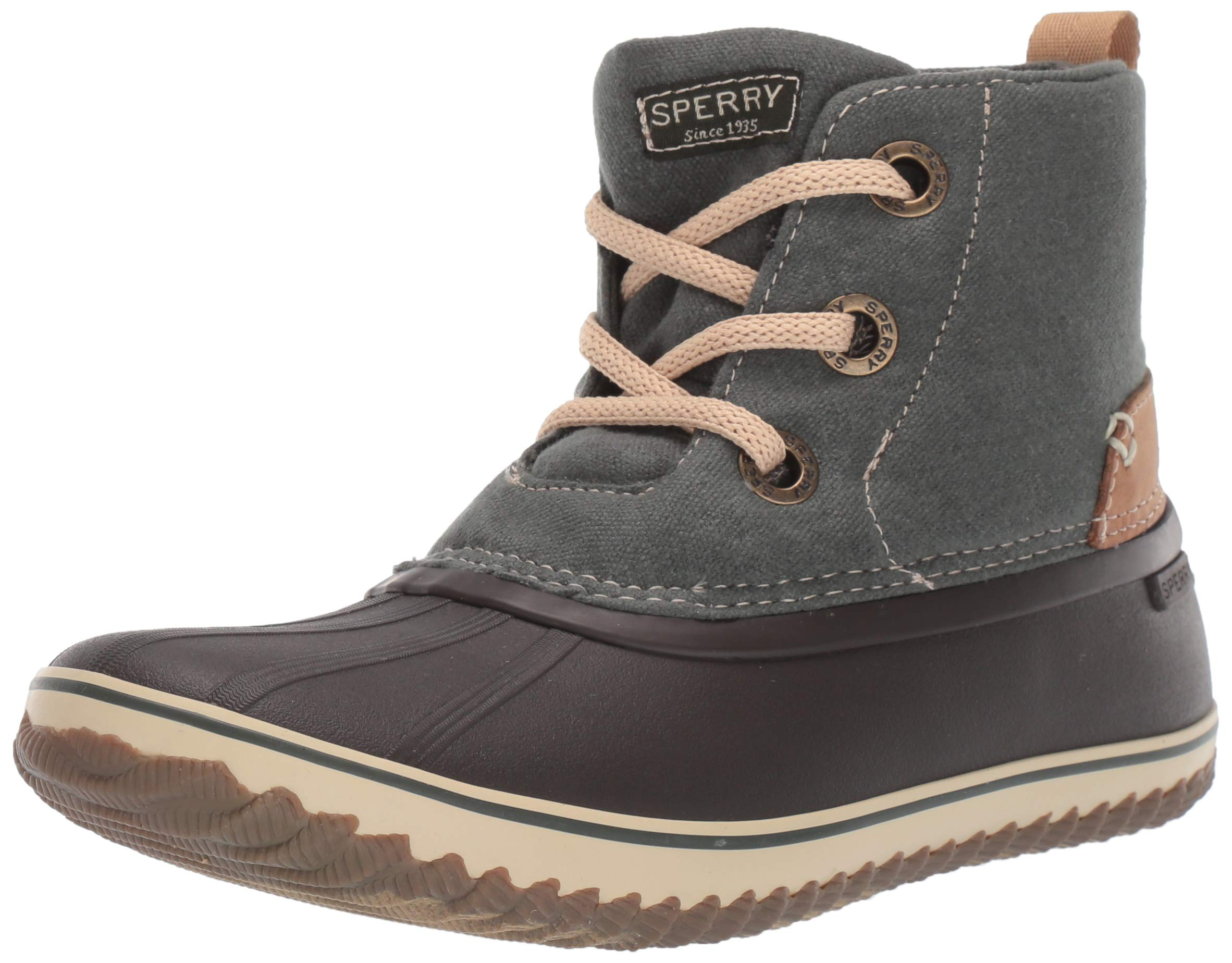 SPERRY Women's Schooner 3-Eye LACE UP Canvas Snow Boot, Olive, 12 by SPERRY