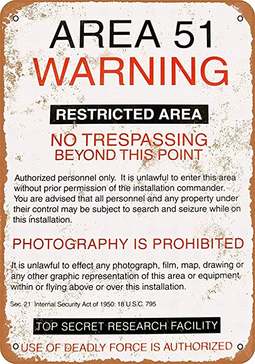 Area 51 Warning Póster De Pared Metal Retro Placa Cartel ...