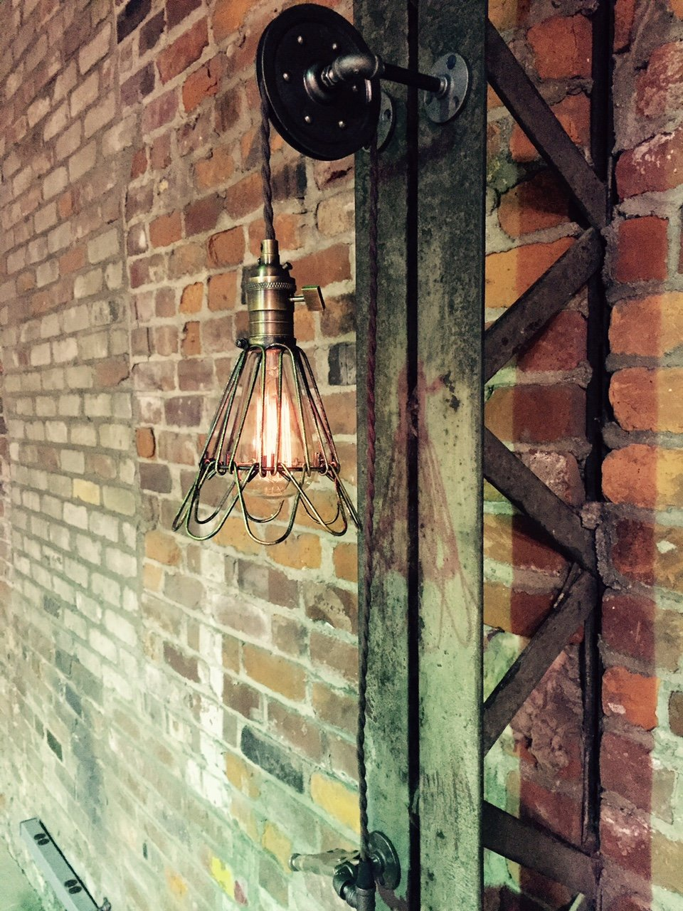 4'' Pulley Wall Mount Light with Antiqued Cage Pendant Light on Aged Pulley Mount - Built in the USA by Industrial Rewind