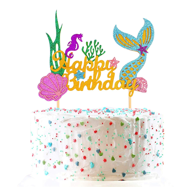 Unimall Glitter Mermaid Cake Topper, Happy Birthday Cake Decoration Food Picks for Under The Sea Mermaid Theme Party, Baby Shower, Ocean Birthday Fruit Picks Cake Decor