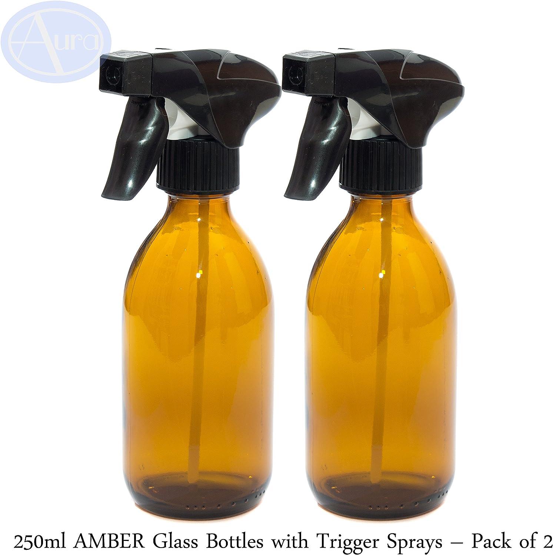 250ml Botellas de Cristal ámbar con Negro gatillo Spray–Pack de 2