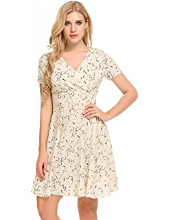 4b268f837fc3 BEAUTYTALK Women's Cute V Neck Short Sleeve Floral Printed Casual A Line  Flare Retro Wrap Dress