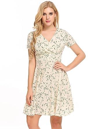 cb19d980d48c9 BEAUTYTALK Women's Short Sleeve White Short Sleeve Floral Casual Dress  White_L