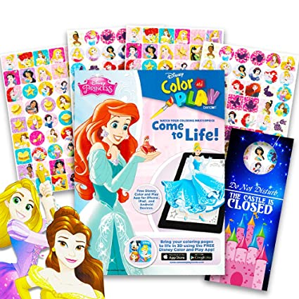 Amazon Com Disney Princess Coloring Book And Sticker Chart Super