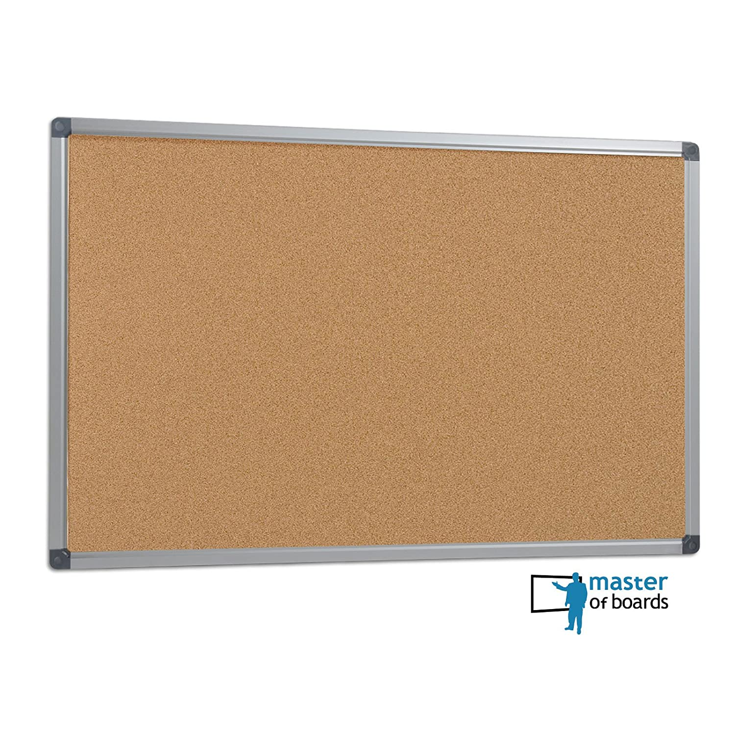 Master of Boards Office Cork Notice Board | Pin Board with Aluminium Frame  - 90x60cm (3'x2')