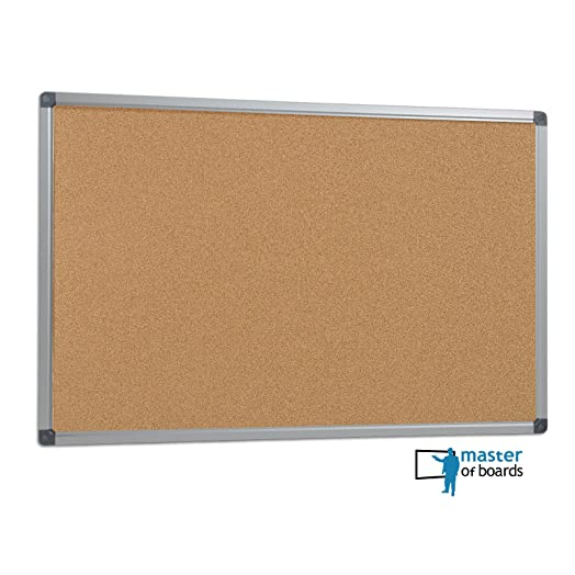 Master Of Boards Office Cork Notice Board | Pin Board With Aluminium Frame    90x60cm (