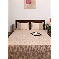 Home- The best is for you Cotton Jacquard Chambray Double Bed Cover King Size/Bed Sheet with 2 Pillow Cover Set