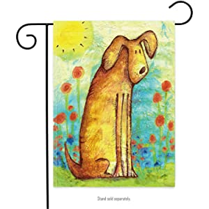 Welcome Dog Decorative Spring Summer Garden Flag Double Sided for Outdoor Lawn and Garden Home 12 x 18 Inch