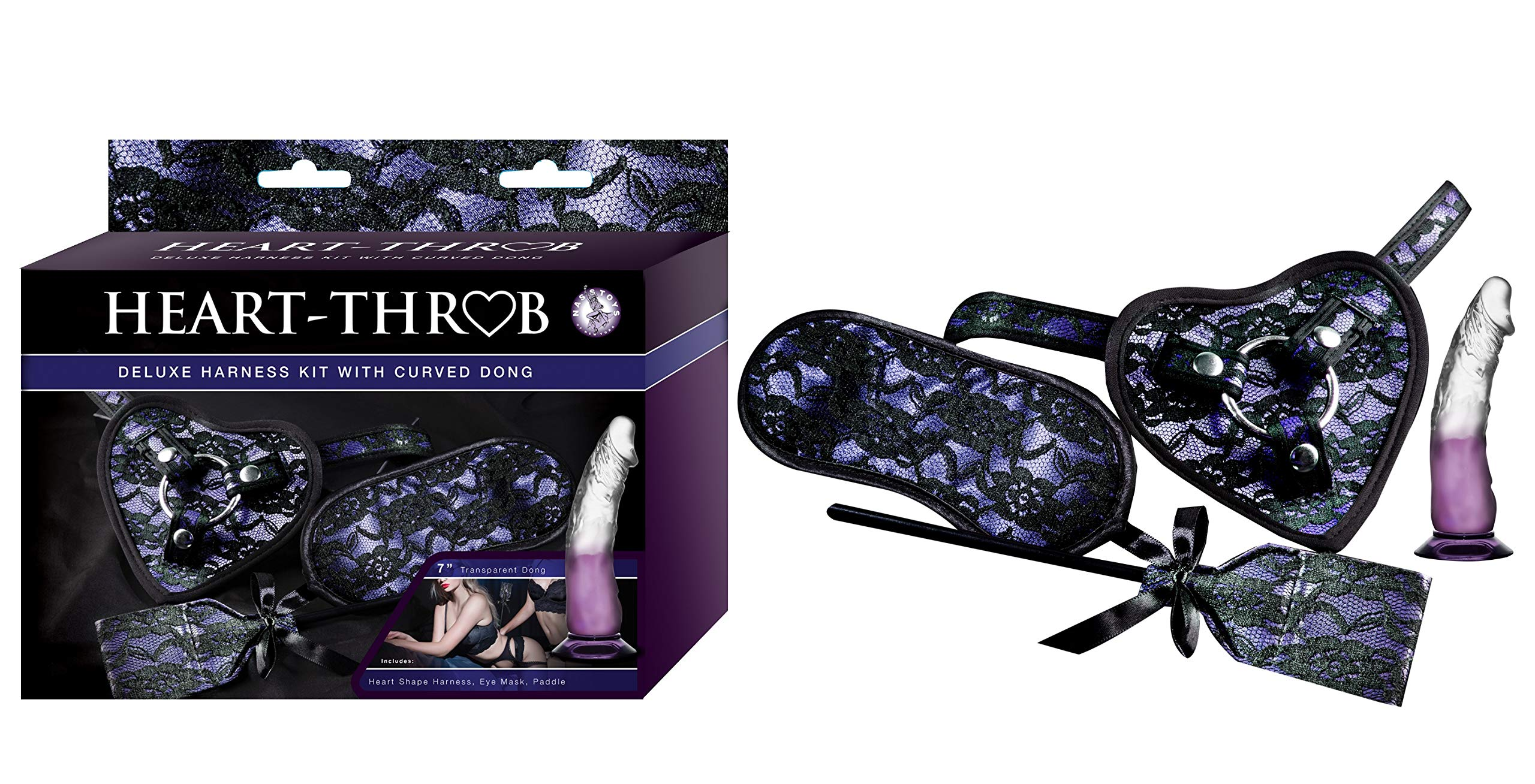 Heart On Deluxe Harness Strap-on Kit with Curved 7 Inch Dong, Includes Blindfold and Paddle, Purple/Transparent