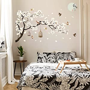 Chinese Style White Flowers Black Tree and Flying Birds Wall Stickers Removable Decor DIY Stickers Tree Branches Birds Saying Art Decor Wall Decal for Offices Home Bedroom Study Room, 12 x 36 Inch