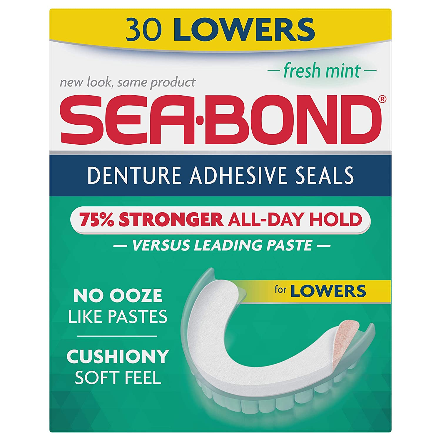 Sea Bond Secure Denture Adhesive Seals, Fresh Mint Lowers, 30 Count Sea-Bond 011509065087