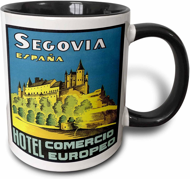 3dRose Vintage Segovia Espana Hotel Comercio Europa España Luggage Label-Two Taza Tono, Cerámica, Negro, 10,16 x 7,62 x 9,52 cm: Amazon.es: Hogar
