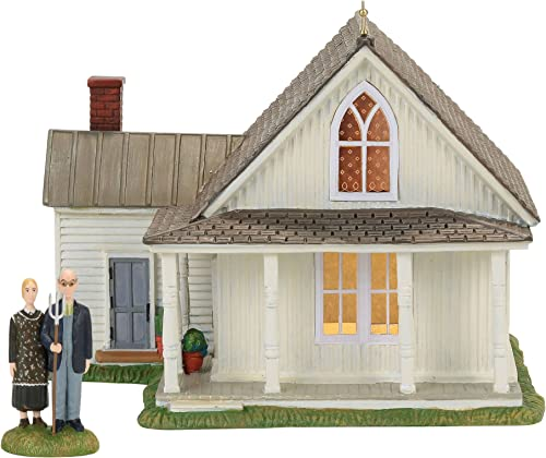 Department 56 New England American Gothic Lit Building Figurine Set of 2 Village Accessory, Multicolor