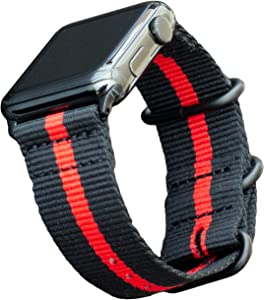 Carterjett Thin Red Line Nylon Compatible with Apple Watch Band 44mm 42mm Series 5, 4, 3, 2, 1 Outdoors Woven Military Style iWatch Band Replacement Sport Wrist Strap (42 44 S/M/L Thin Red Line)