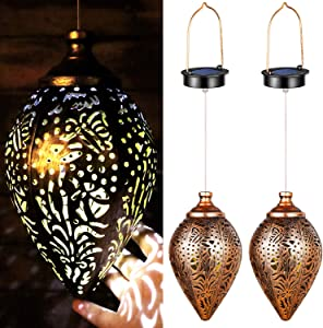 2 Pack Hanging Solar Lights, ZSPENG Garden Decor Light, Solar Lantern Garden Art, Waterproof Outdoor Decor, Hanging Garden Decor for Porch Garden Outdoor