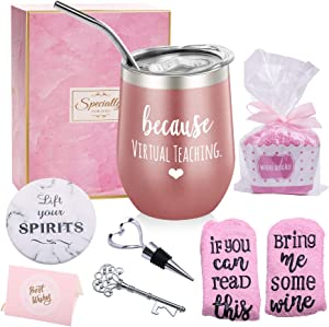 Teacher Gifts for Women Because Virtual Teaching - Funny Teachers Appreciation Day Gifts - Teacher Christmas Gifts for Professor, Teaching Assistant, Instructor Teather for Online Learning