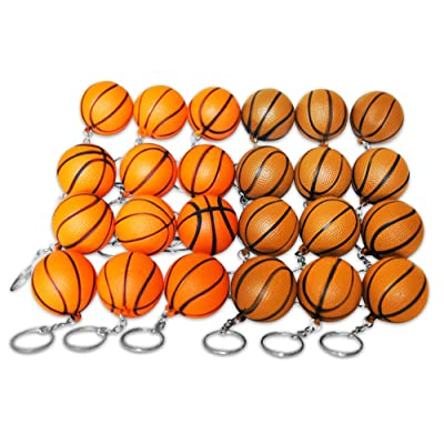 Novel Merk 24 Basketball Sports Ball Keychains Pack Includes Orange & Brown for Kids Party Favors & School Carnival Prizes: Toys & Games