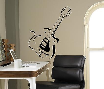 Guitarra eléctrica vinilo adhesivo para pared Vintage de música ...