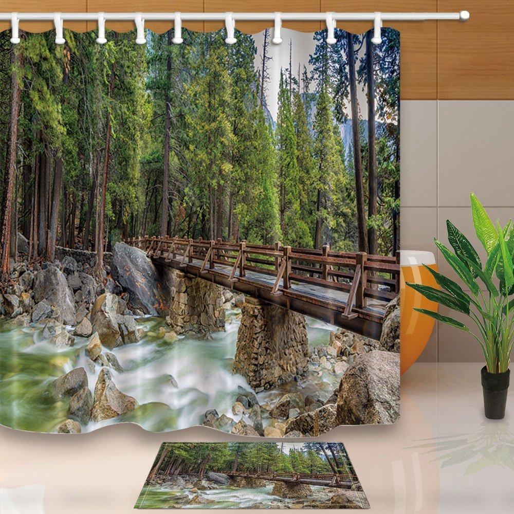 Landschaftsduschvorhänge Steinbrücke im Wald Ein klarer Stream 70.8 ...