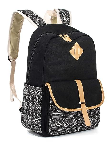 82836fca8f1f Leaper Cute Canvas Backpack for Girls School Bag Travel Daypack Black 8812