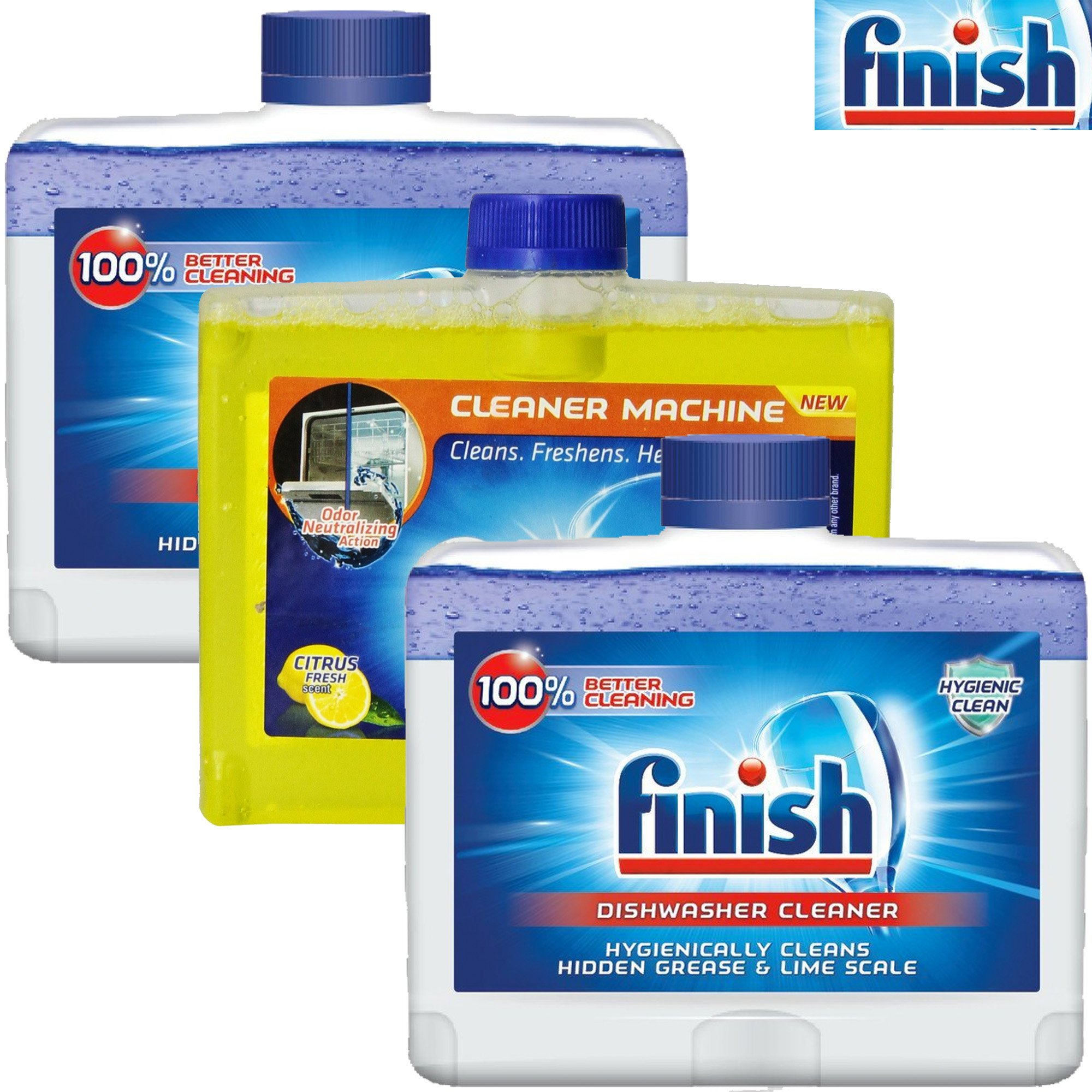 Finish Combo Pack Dishwasher Machine Cleaner - 3 Count x 8.45 oz Each (2 Original + 1 Citrus)