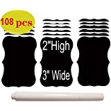 108-Pack The BEST Large and Reusable Chalkboard Labels + Liquid Chalk Pen to Decorate Your Pantry Storage & Office