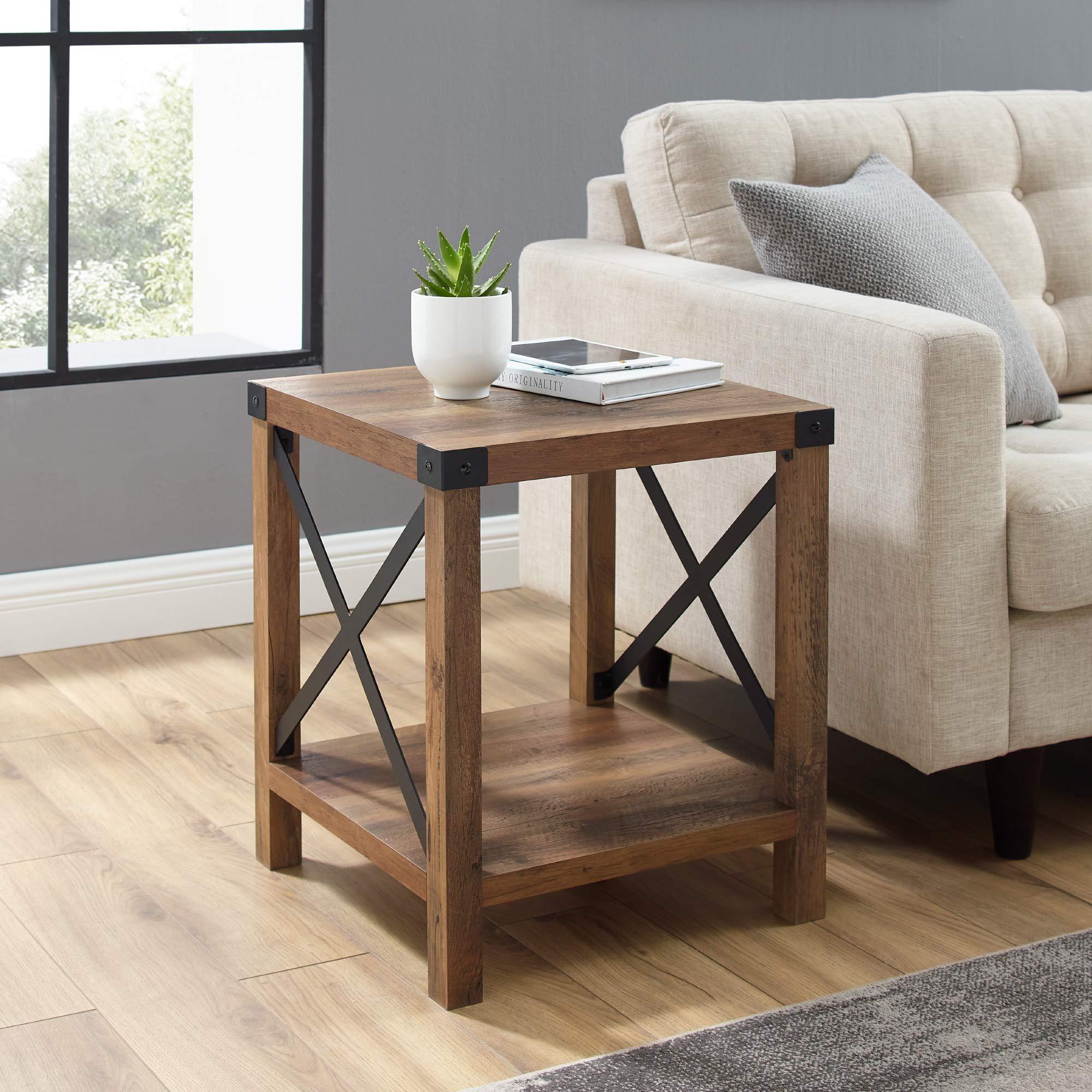 Walker Edison Sedalia Modern Farmhouse Metal X Side Table, 18 Inch, Reclaimed Barnwood